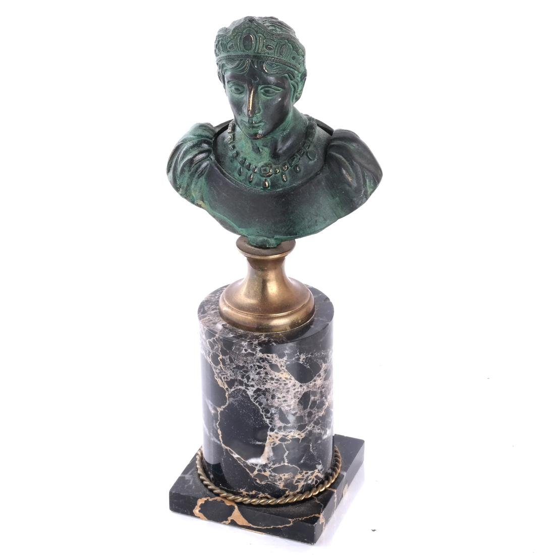 Miniature Classical Bronze and Marble Bust