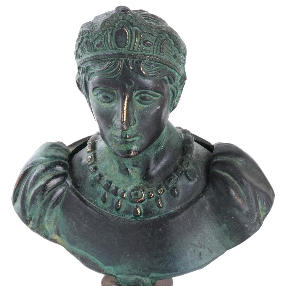 Miniature Classical Bronze and Marble Bust - 2
