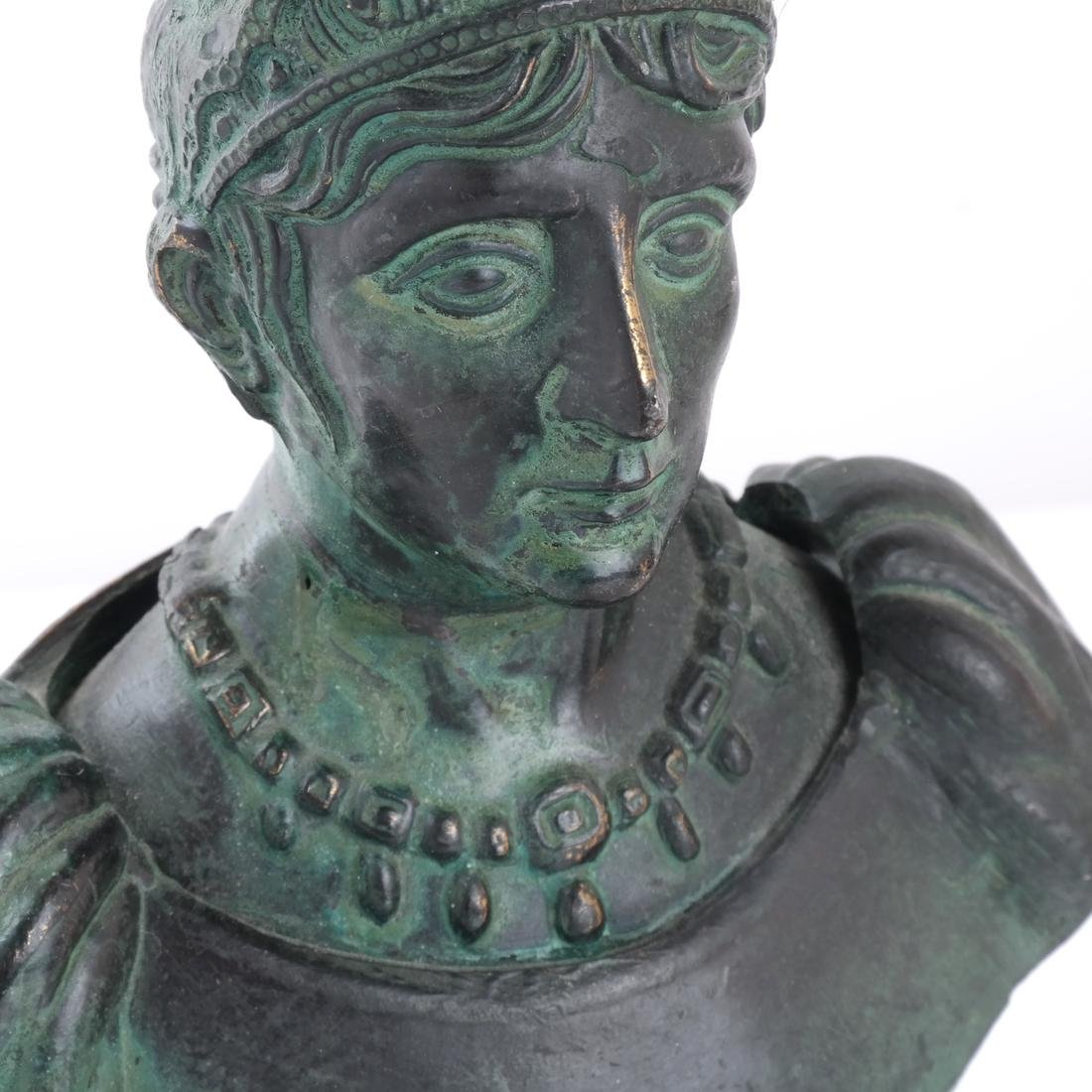 Miniature Classical Bronze and Marble Bust - 4