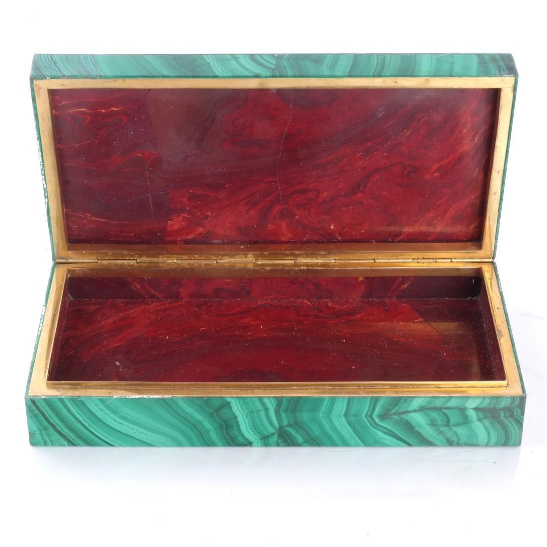 Russian Malachite Box - Red Jasper Interior - 2