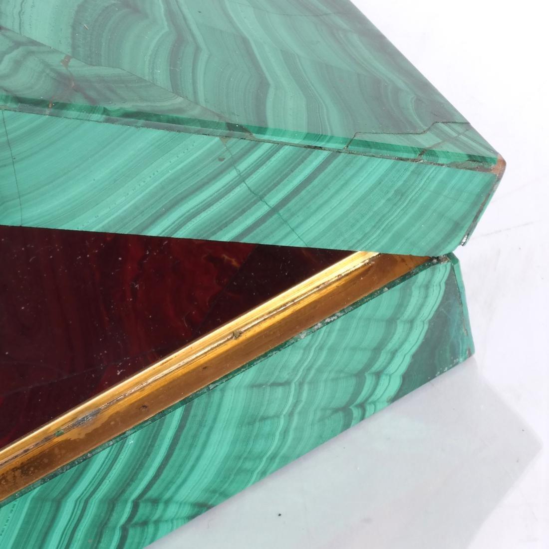 Russian Malachite Box - Red Jasper Interior - 3
