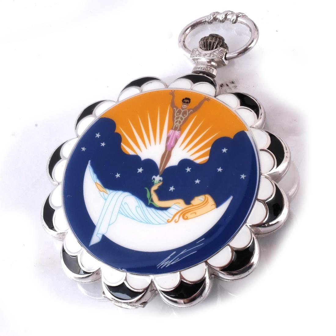Erte: Pocket Watch & Stand, Silver - 5