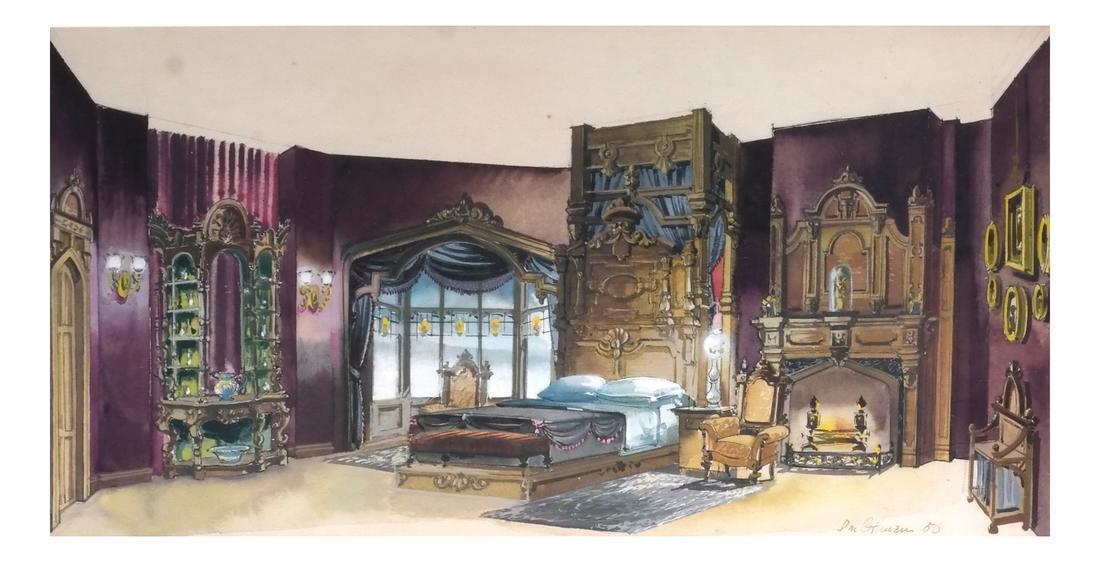 Interior Room Scene, Watercolor