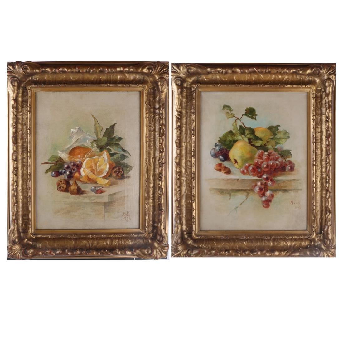 M. Fox & B.F.: Still Lifes w/ Fruit - O/C