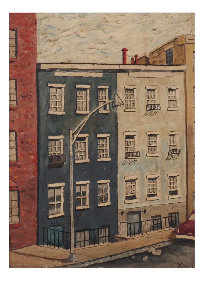 Clem Labine: Manhattan Townhouse - Oil on Board