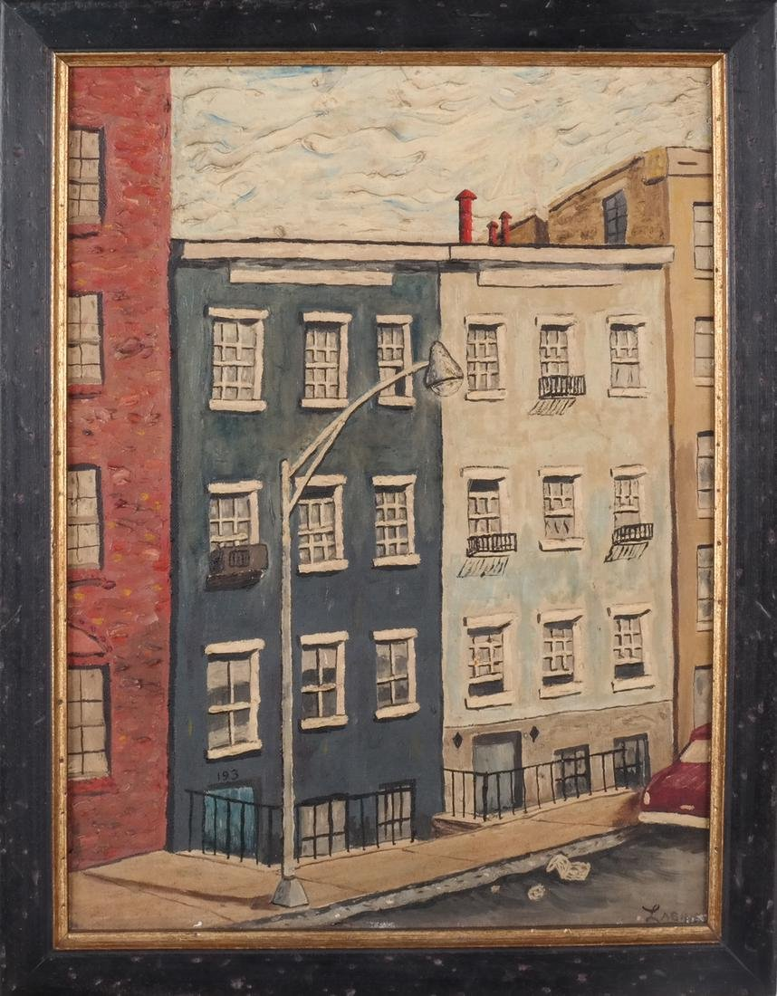 Clem Labine: Manhattan Townhouse - Oil on Board - 2