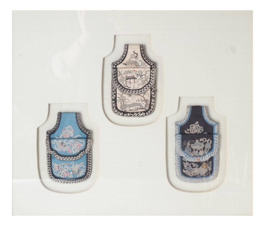 Three Framed Asian Pouches, Textile