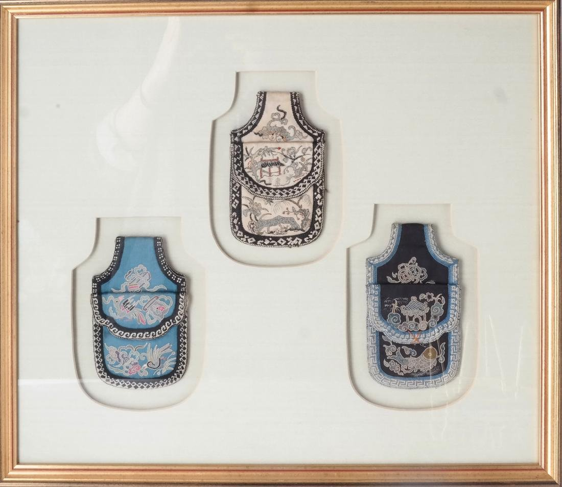 Three Framed Asian Pouches, Textile - 2