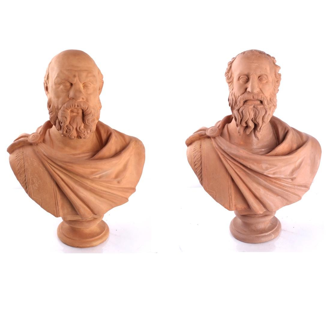 Pair of Ceramic Classical Male Busts