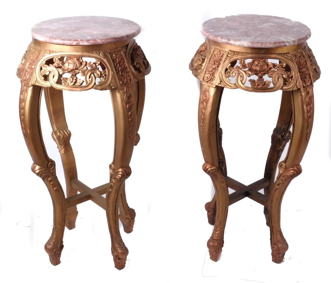 Pair Chinese Ornate Marble-Top Stands