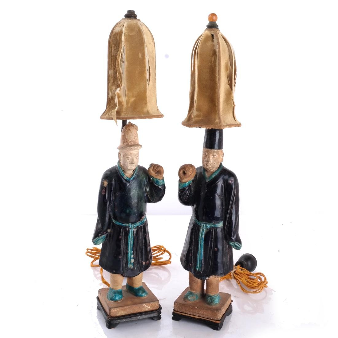 Pair Chinese Figural Ceramic Lamps