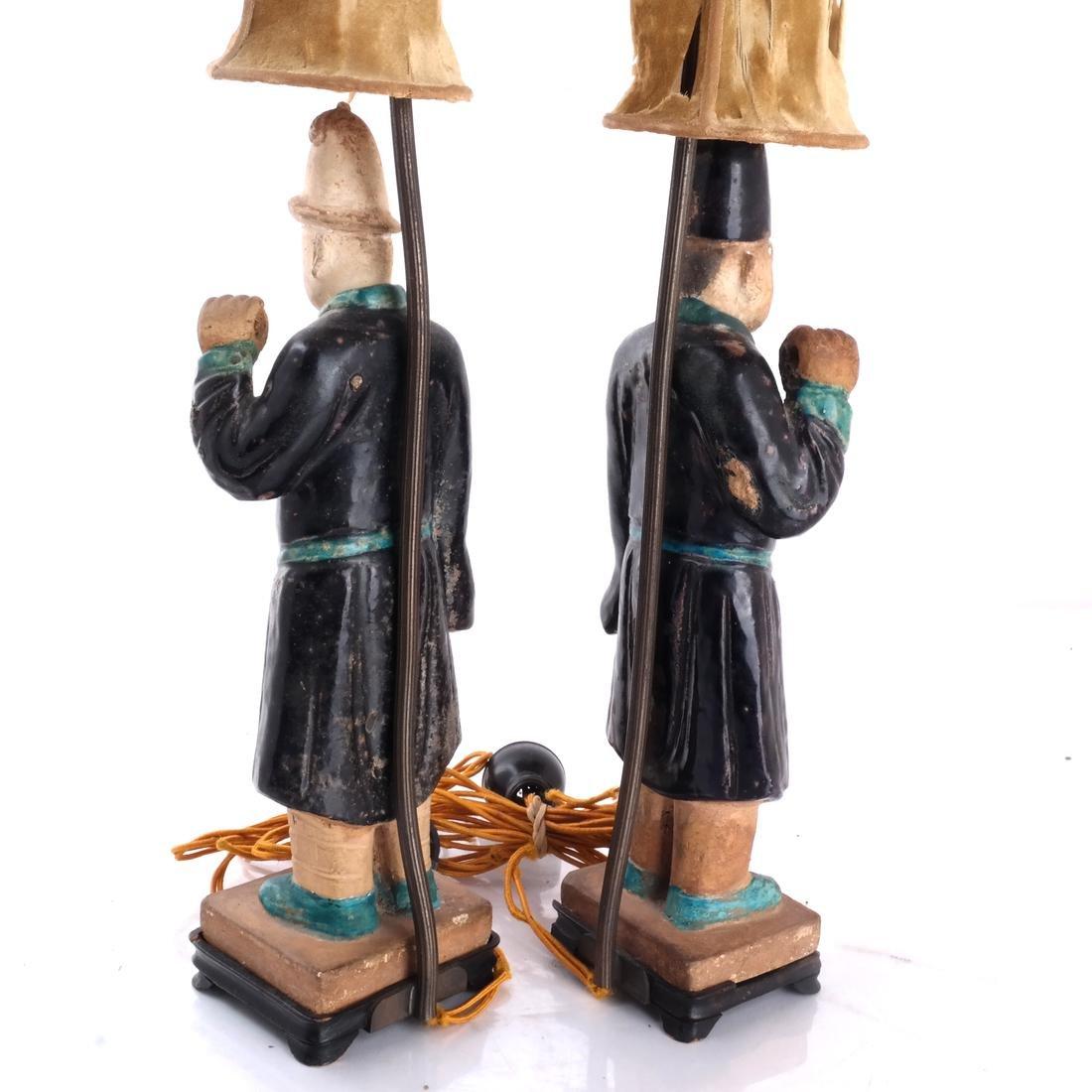 Pair Chinese Figural Ceramic Lamps - 4
