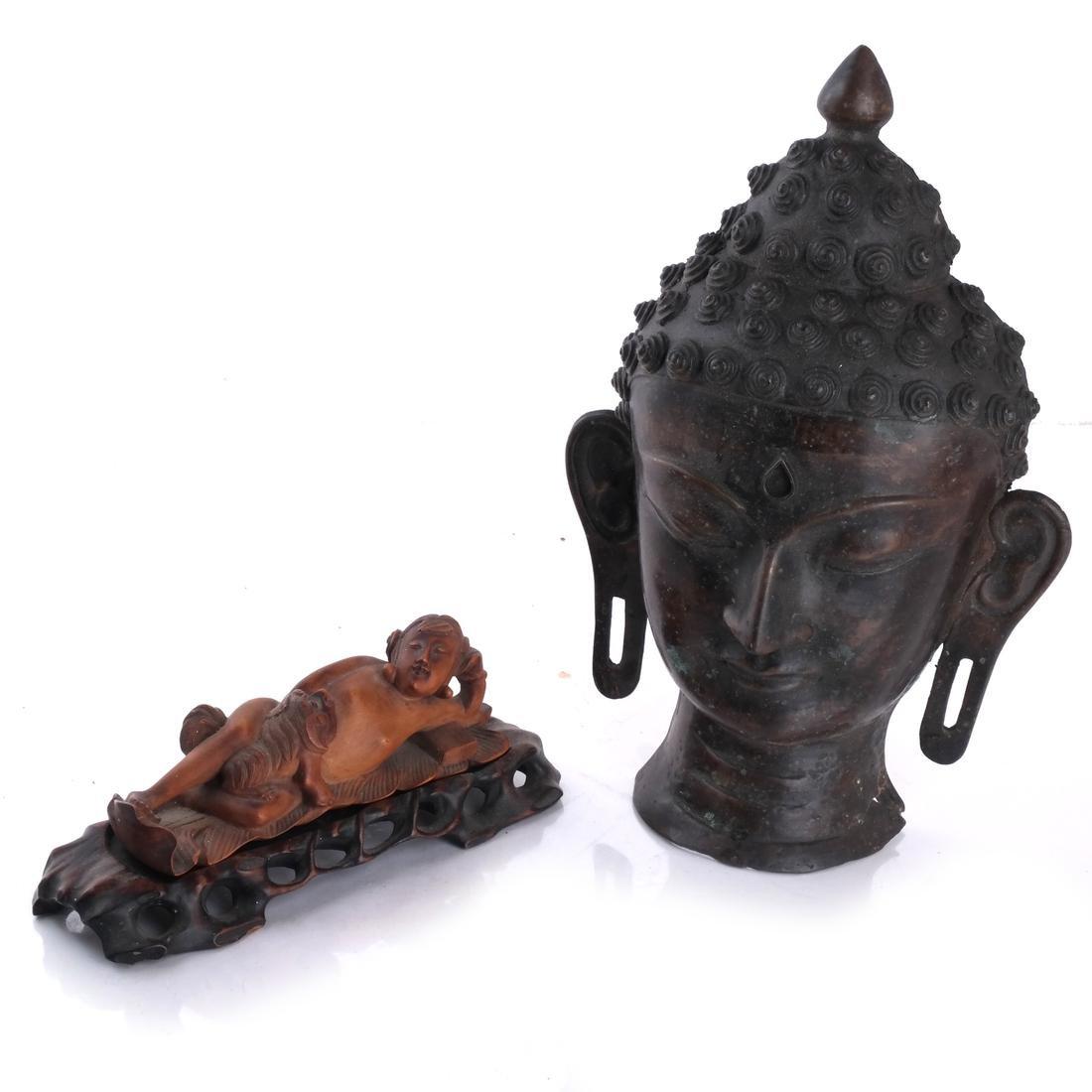 Chinese Bronze Head; Wood Sculpture