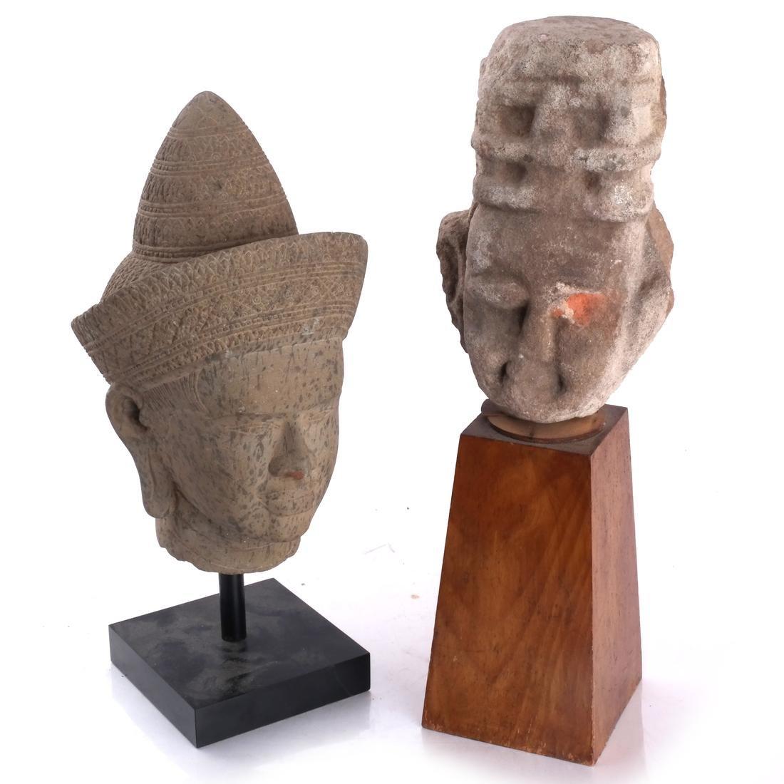 Tibetan Stone Head & Mesoamerican Toltec Bust