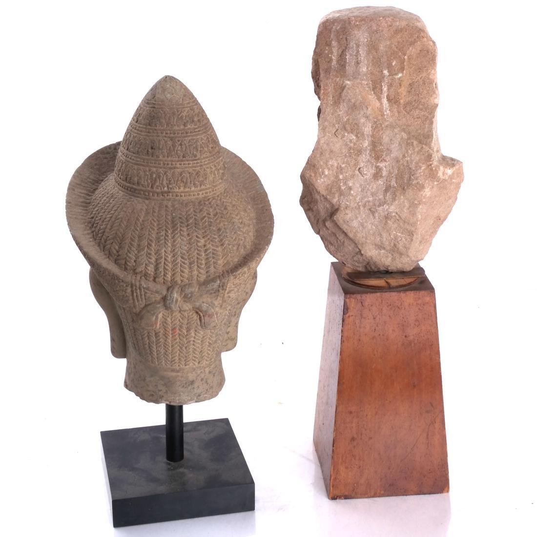 Tibetan Stone Head & Mesoamerican Toltec Bust - 2