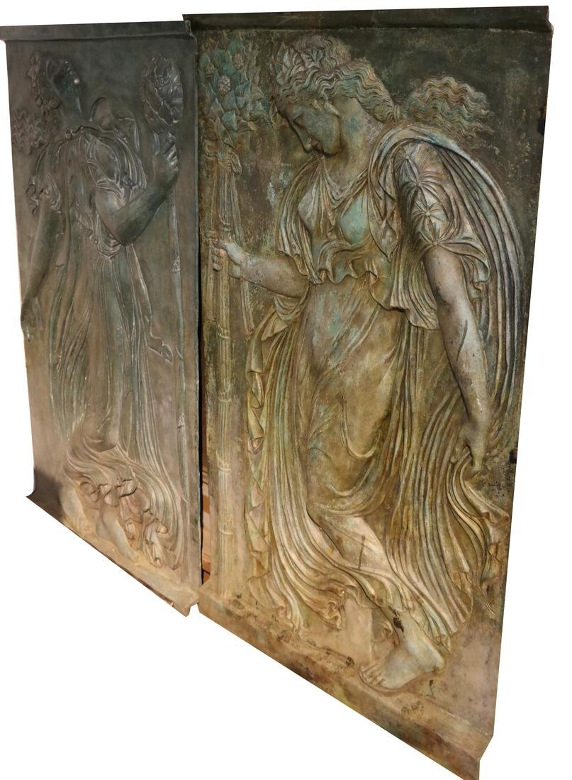 Two Allegorical Cast Bronze Relief Plaques Contemporary