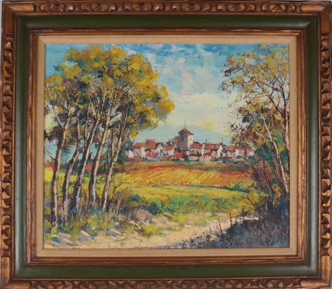 Framed Village Landscape, Unsigned - 2