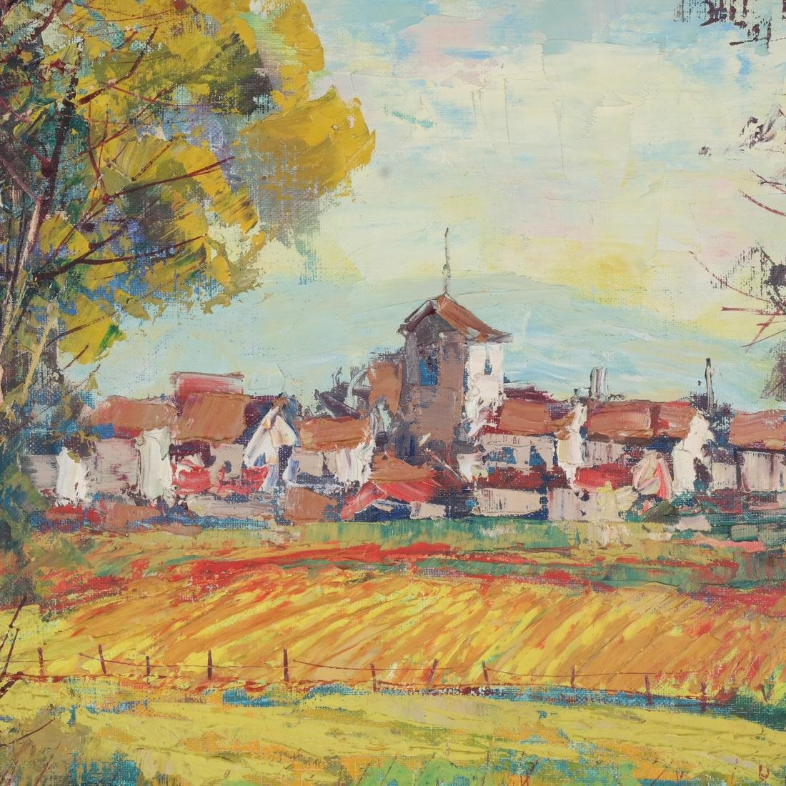 Framed Village Landscape, Unsigned - 4