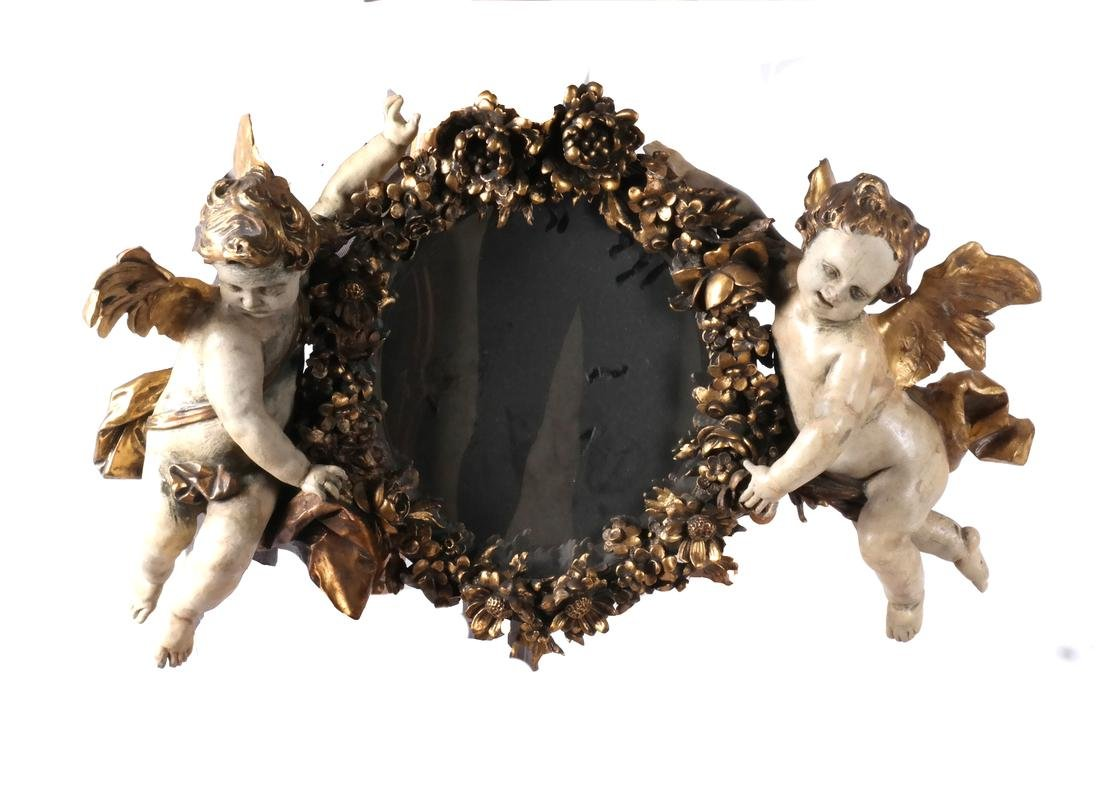 Ornate Cherub Wall Mirror