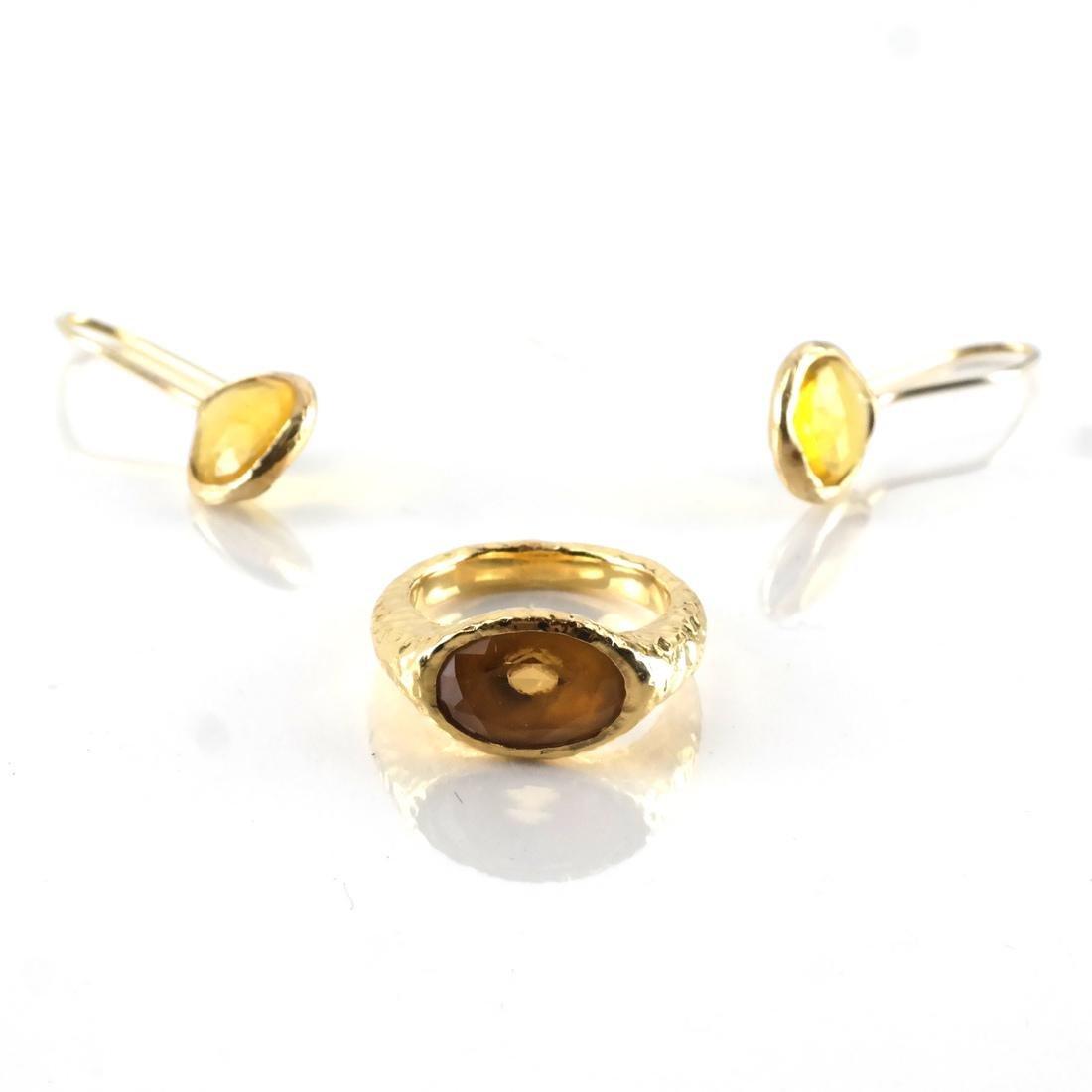 3-Piece 14k YG, Citrine Ring & Earrings