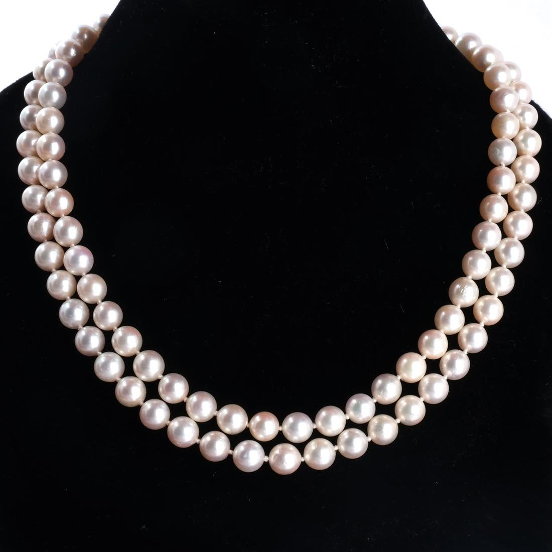 Two-Strand Pearl Necklace, 18k Clasp