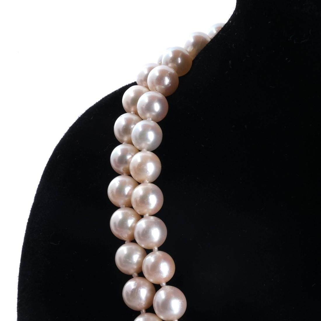Two-Strand Pearl Necklace, 18k Clasp - 2