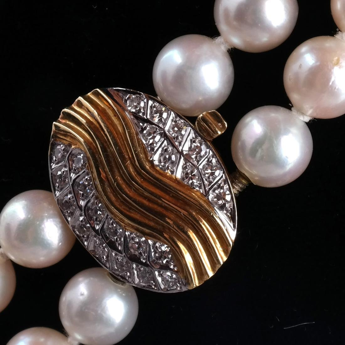 Two-Strand Pearl Necklace, 18k Clasp - 3