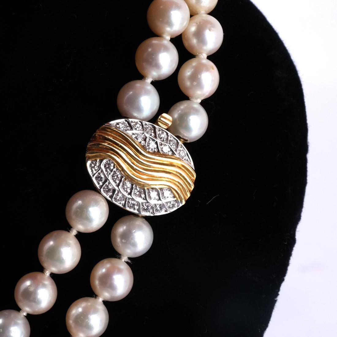 Two-Strand Pearl Necklace, 18k Clasp - 4