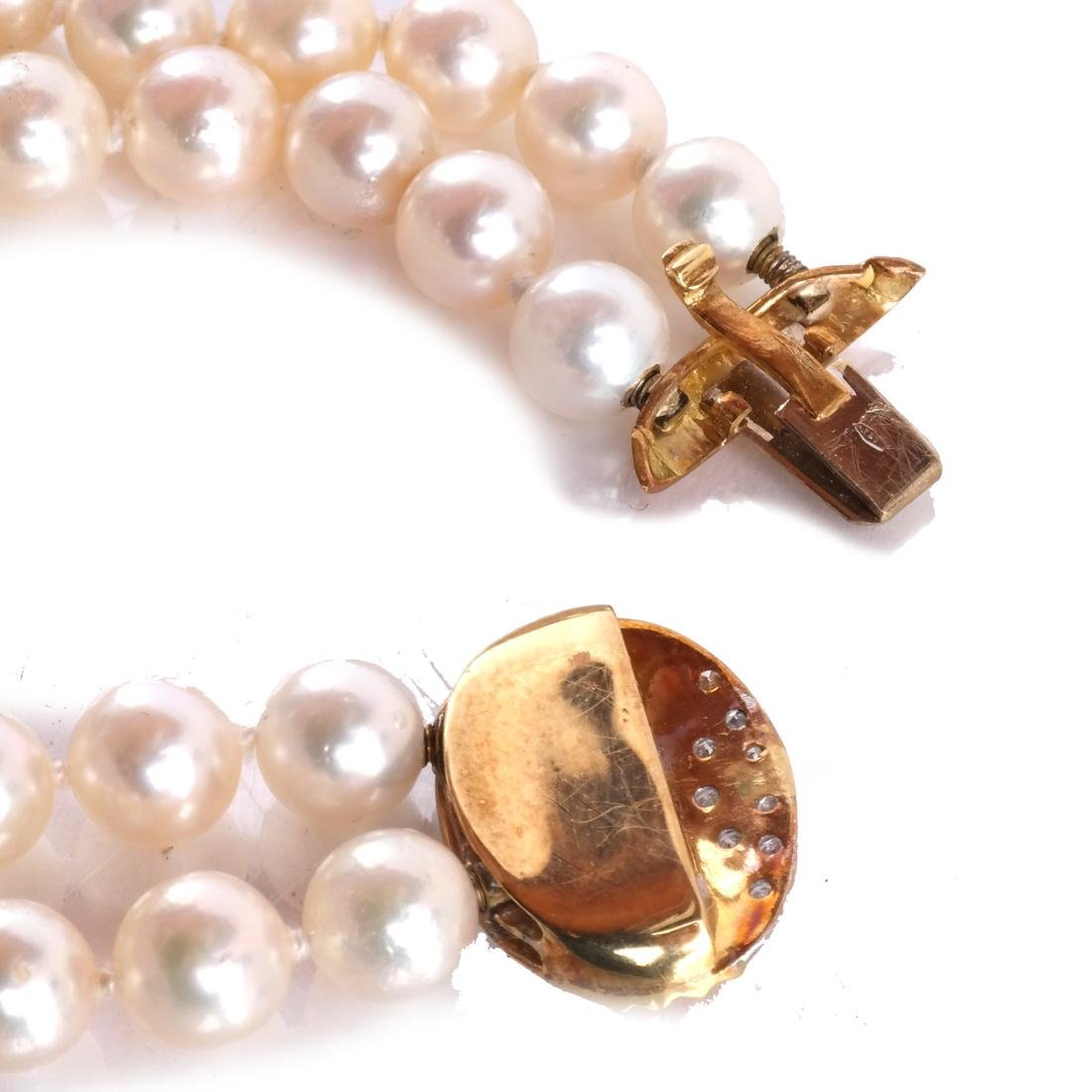 Two-Strand Pearl Necklace, 18k Clasp - 5