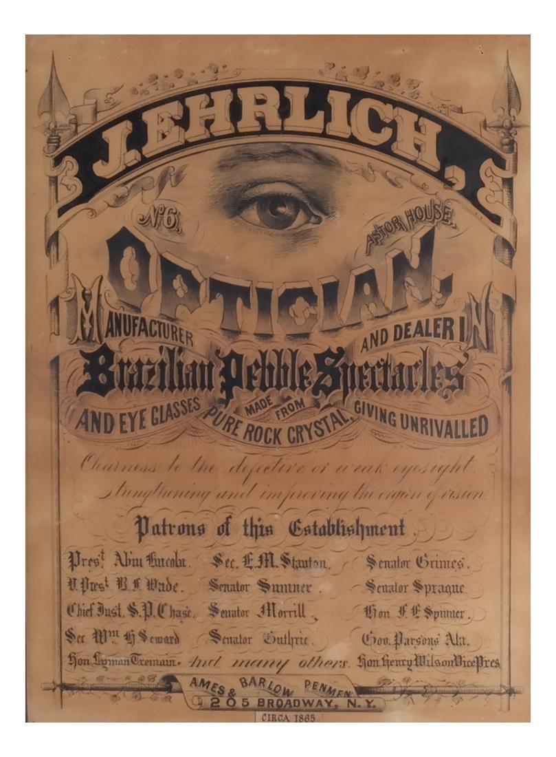 J. Ehrlich Optical Mfr. & Dealer Sign