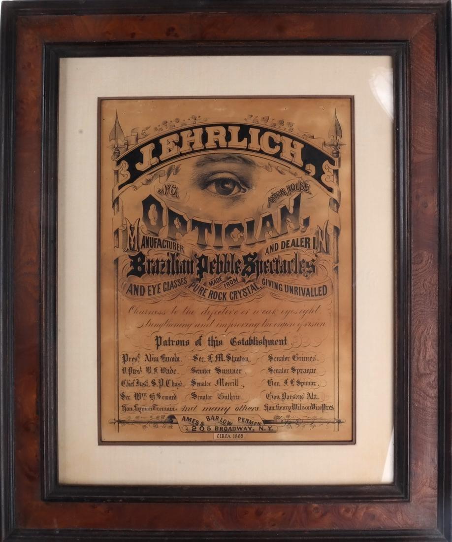 J. Ehrlich Optical Mfr. & Dealer Sign - 2