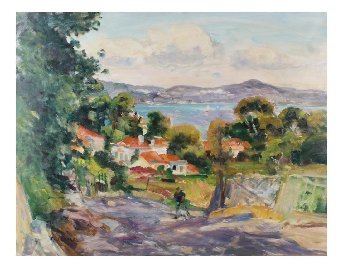 Gaston Sebire: Village Landscape, O/C