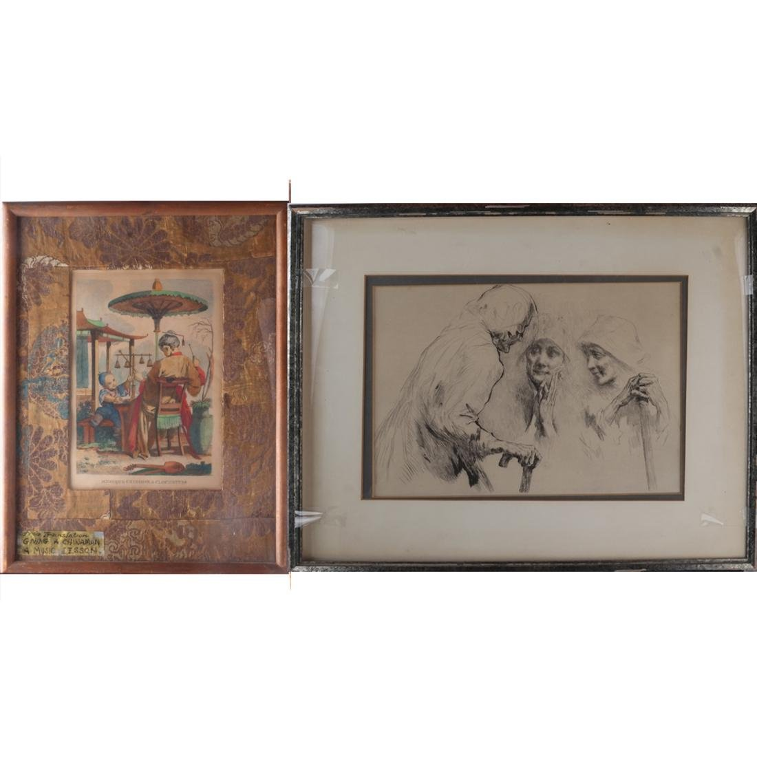 Two Prints: - Women, Chinese Family