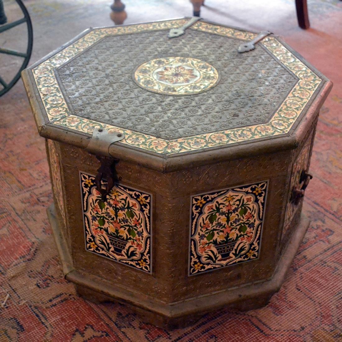 Octagonal Enamel Silvered Storage Box