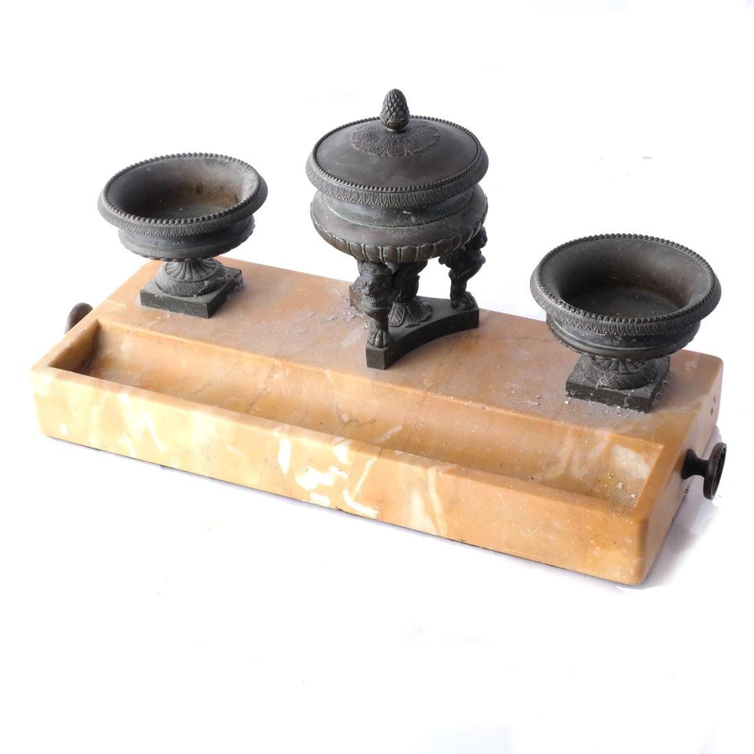 19th C. Marble & Bronze Inkwell