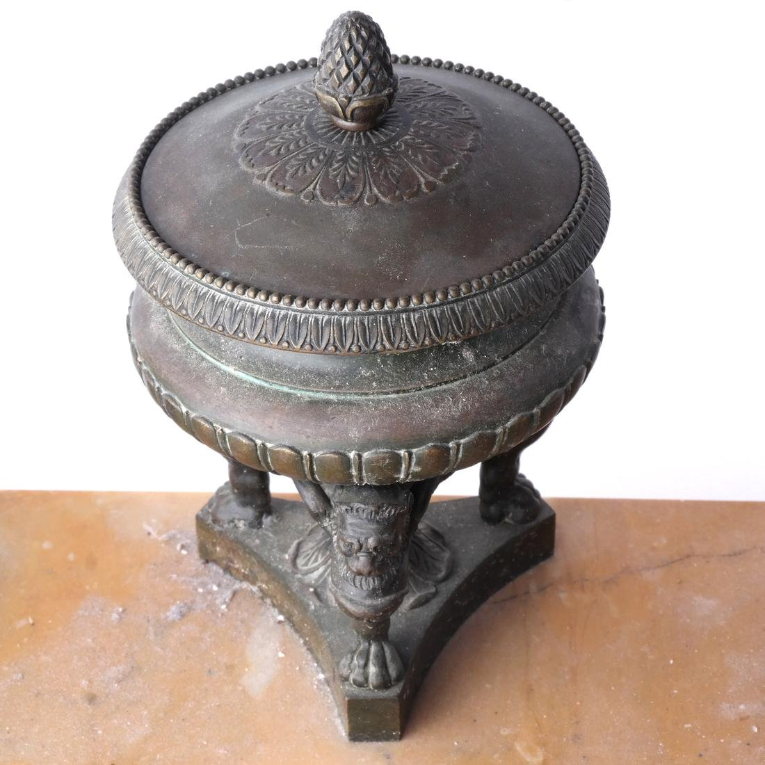 19th C. Marble & Bronze Inkwell - 2