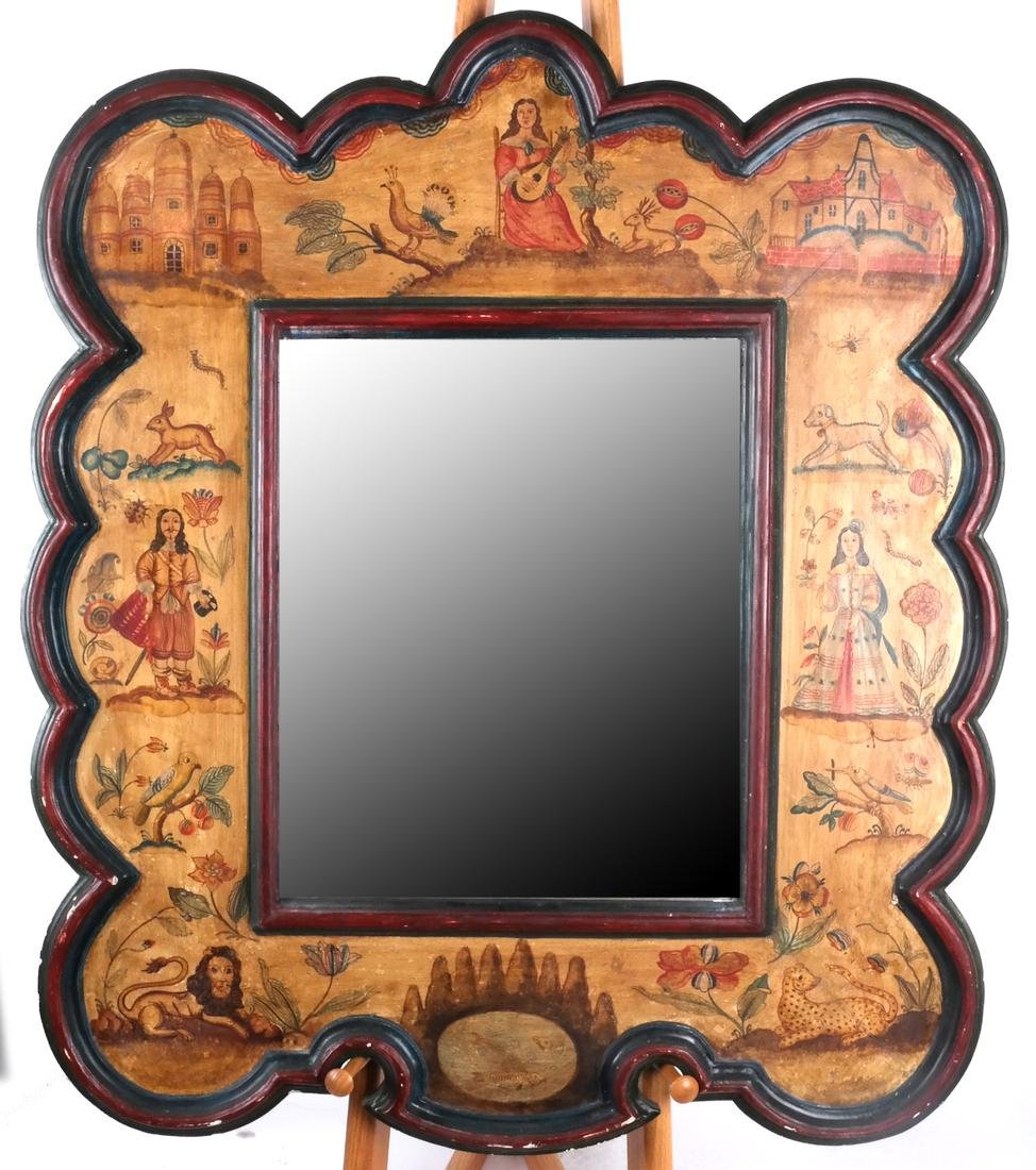 Folk Art-Style Painted Decorated Mirror