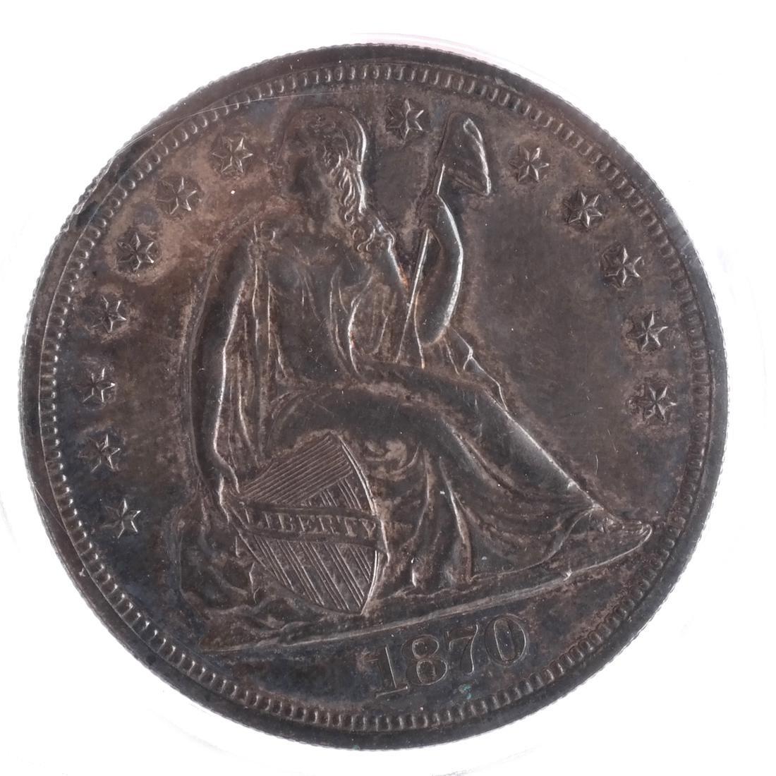 1870 Liberty Seated Dollar MS 63/64