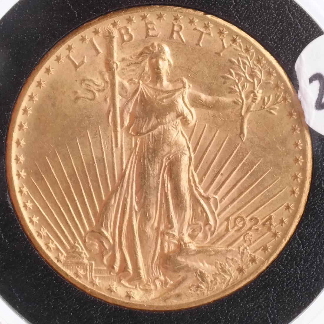 1924 $20 Gold Saint Gaudens, MS 64