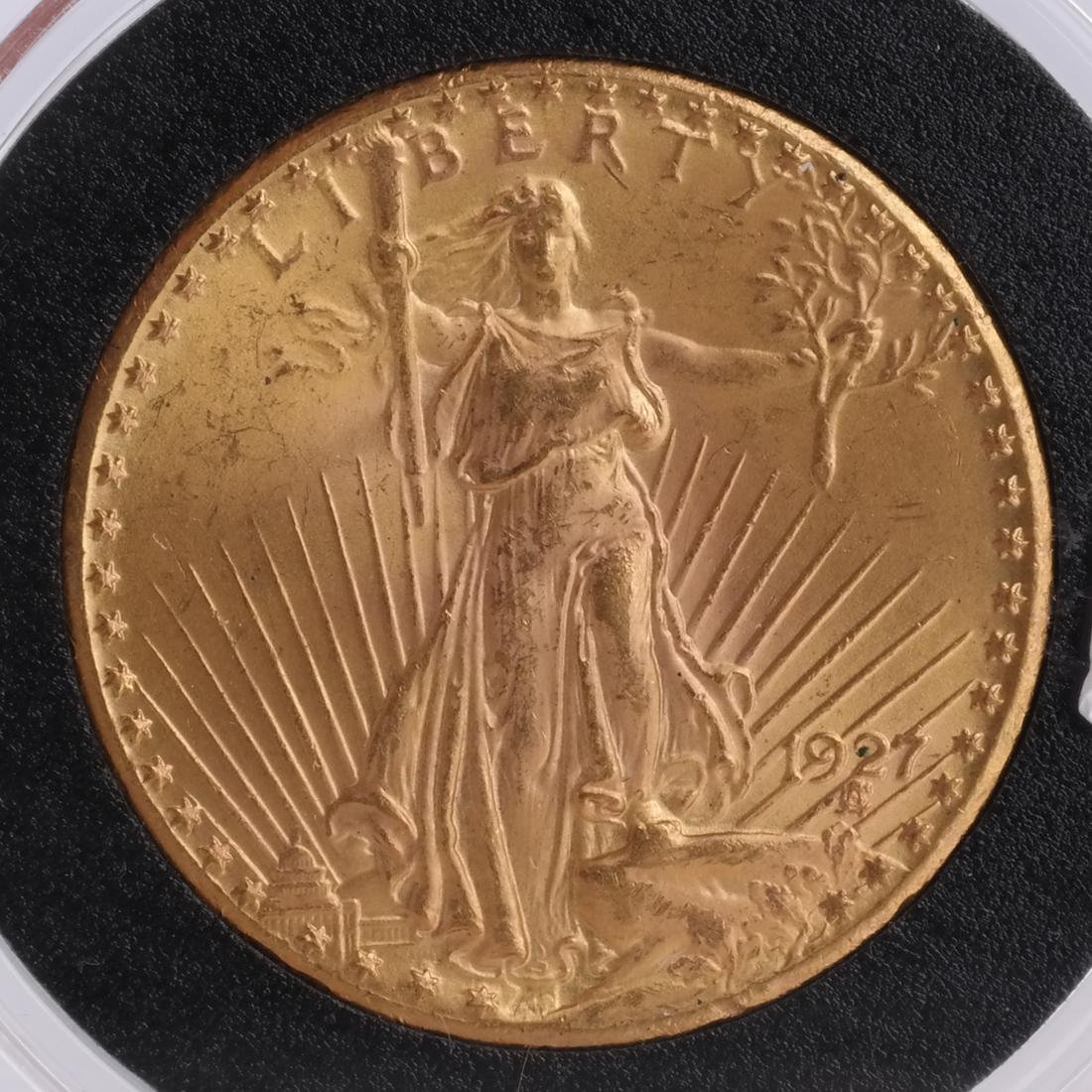 1927 $20 Gold Saint Gaudens, MS 63