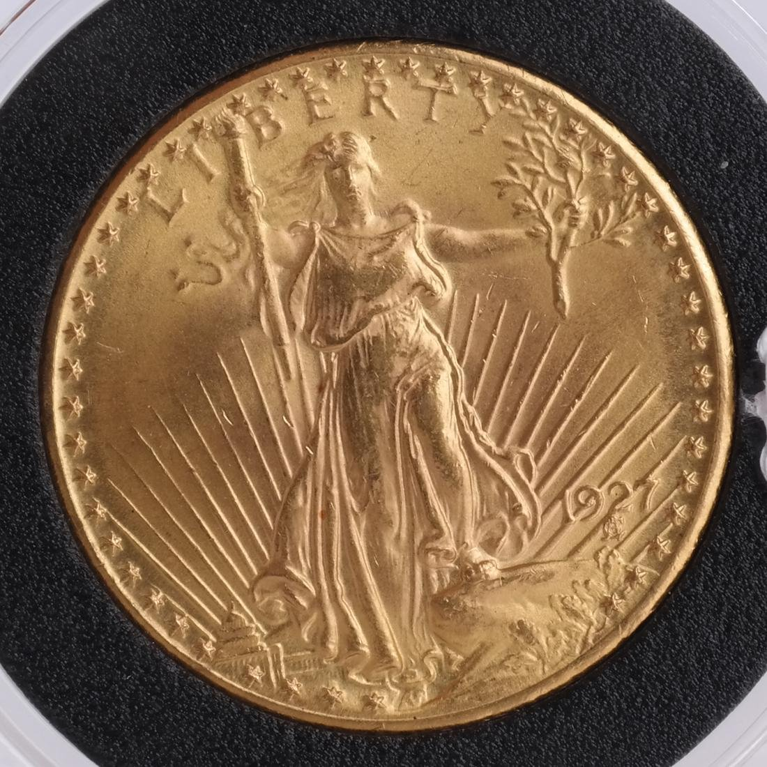 1927 $20 Gold Saint Gaudens, MS 65