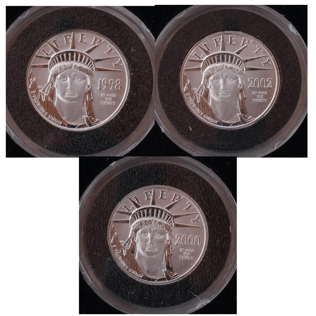 3 Platinum 1/4-Oz. Coins, '98, '00, '02