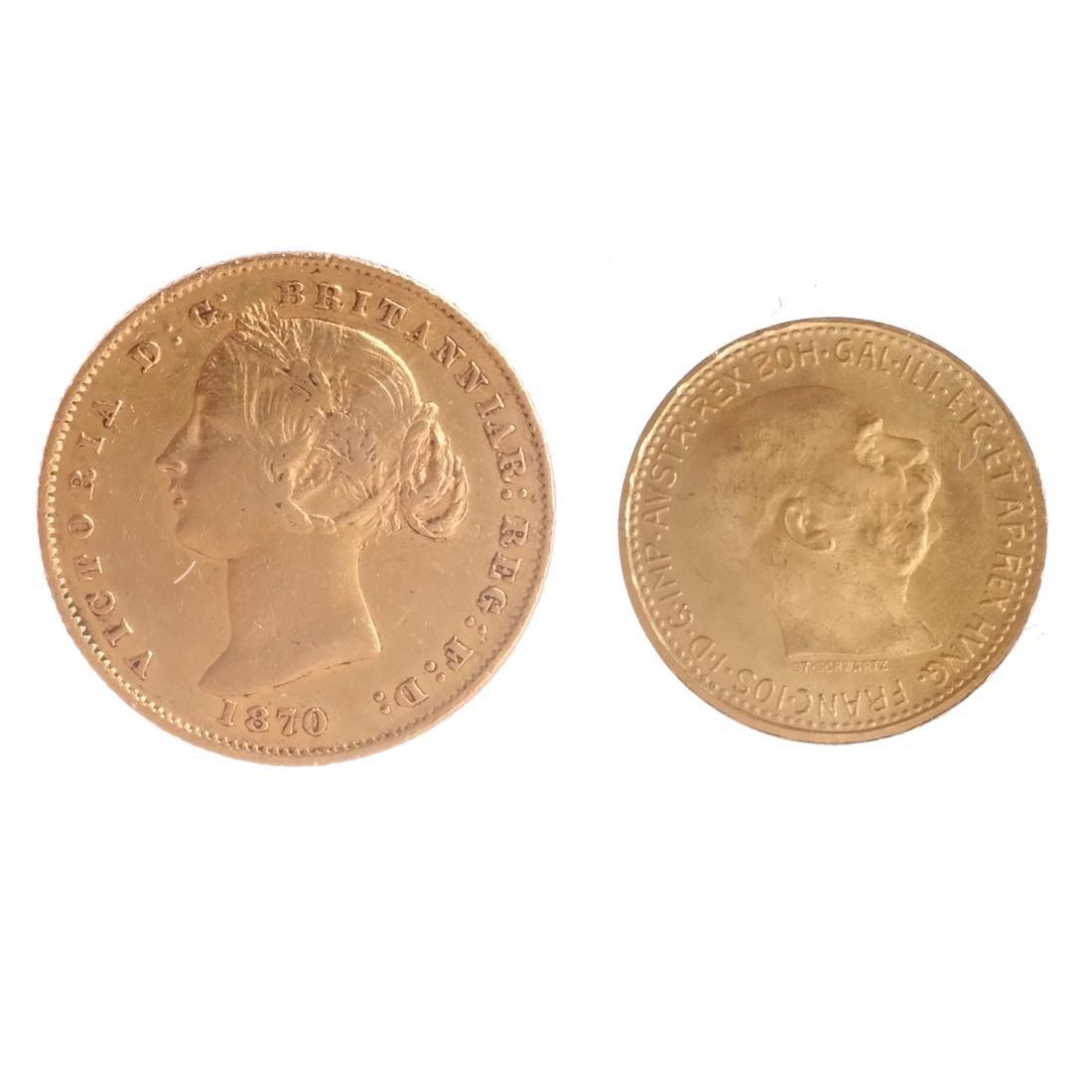 2 Gold, 10 Corona Austria, 1 Australia