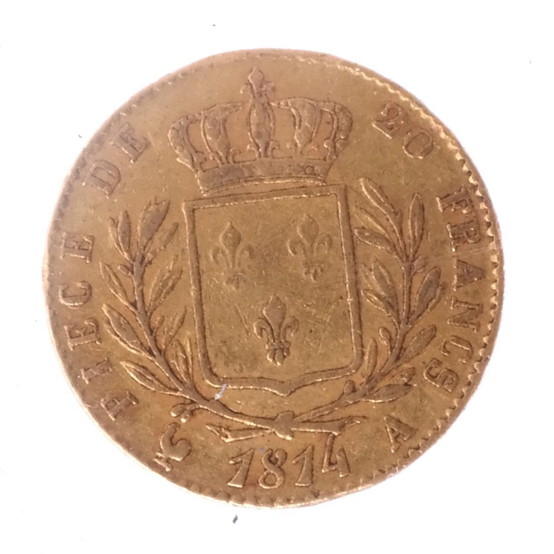 1814-A 20 Francs, France, Louis XVIII - 2