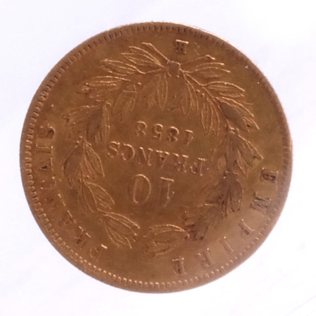 1858 10 Francs, France, Gold. - 2
