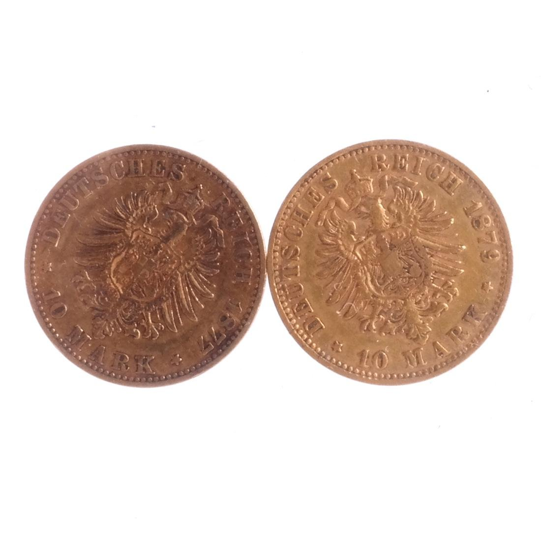 Two 10-Marks Gold, 1877, 1879 - 2