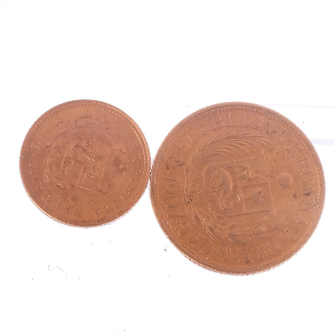 2 Lima Gold Coins, 1907 & 1917 - 2