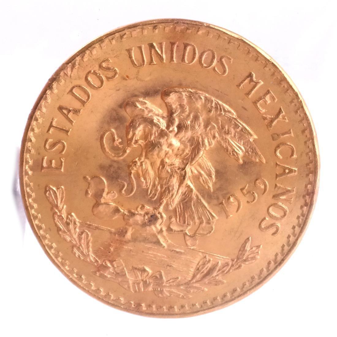 1959 Mexico Veinte Pesos Gold Coin - 2