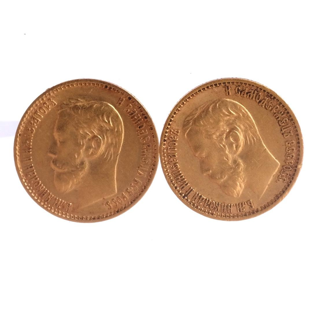 2 Russian 5-Ruble gold coins, 1898