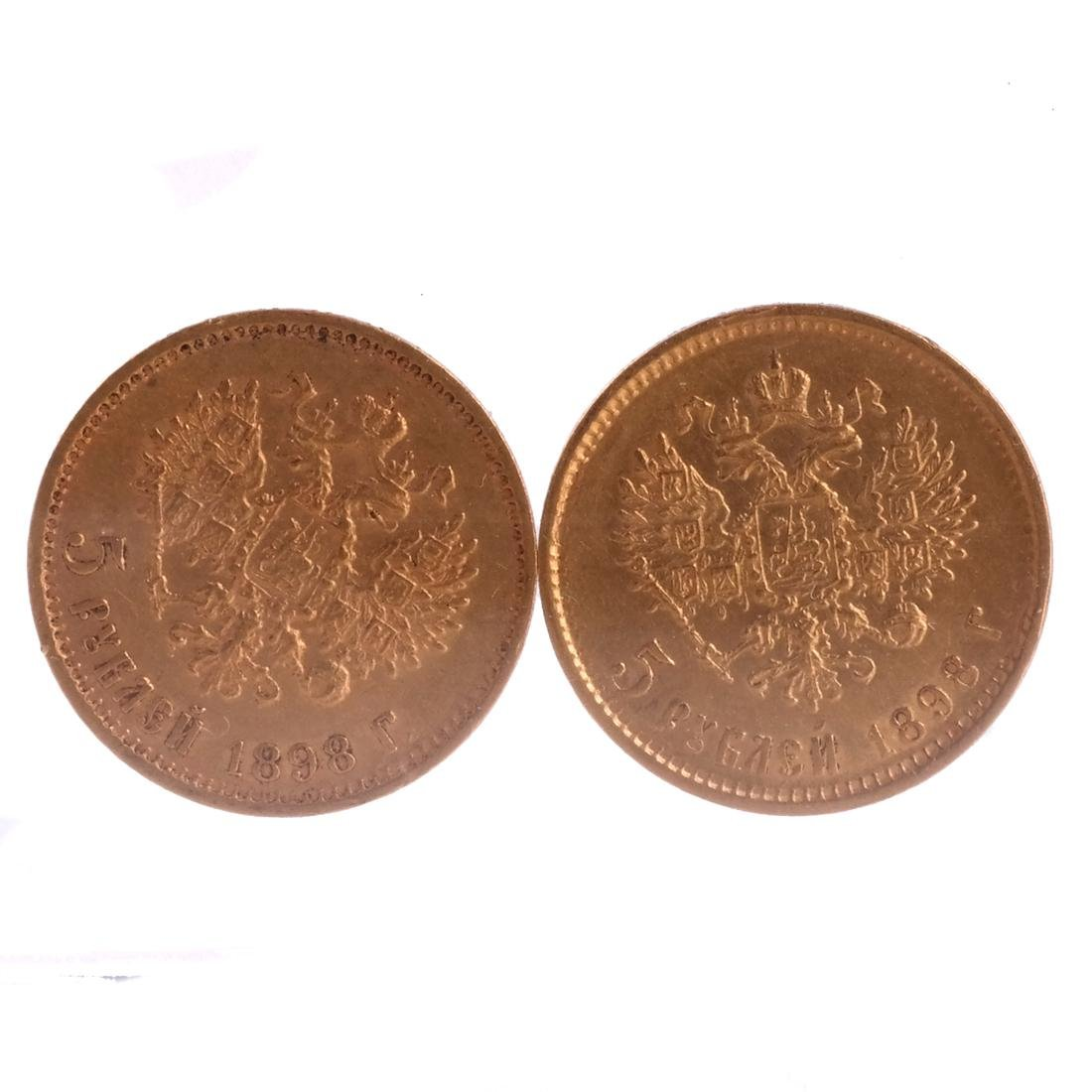 2 Russian 5-Ruble gold coins, 1898 - 2